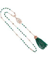 LÁTELITA London - Tassel & Hamsa Necklace Green Onyx - Lyst