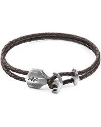 Anchor & Crew - Dark Brown Delta Anchor Silver & Braided Leather Bracelet - Lyst