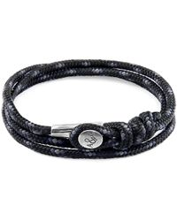 Anchor & Crew - Black Dundee Silver & Rope Bracelet - Lyst