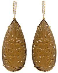 Ri Noor - Carved Smoky Topaz Earrings - Lyst