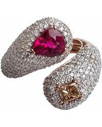 Ri Noor - Rubellite Fancy Diamond & White Diamond Ring - Lyst