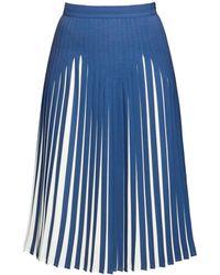 Rumour London - Penelope Azure Blue Pleated Two-tone Midi Skirt - Lyst