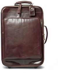 Maxwell Scott Bags - Luxury Italian Leather Suitcase With Wheels Piazzale Dark Chocolate Brown - Lyst