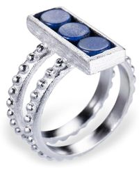Ona Chan Jewelry - Double Shank Beaded Rectangle Ring With Blue Quartz - Lyst