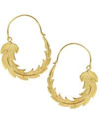 Ottoman Hands - Gold Feather Hoop Earrings - Lyst