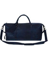 MAHI - Leather Long Armada Duffle Weekend Holdall Bag In Navy - Lyst
