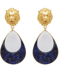 Carousel Jewels - Mother Of Pearl & Lapis Lion Gold Earrings - Lyst