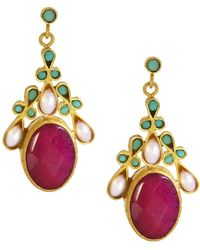Ottoman Hands - Hot Pink Agate Pearl & Turquoise Ornate Festival Drop Earrings - Lyst