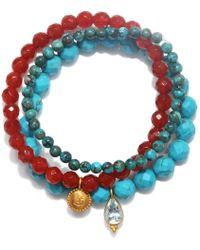 Satya Jewelry - Carnelian & Turquoise Stretch Bracelet Set - Lyst