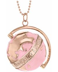 True Rocks - Medium Globe Necklace Rose Gold & Blush Enamel - Lyst