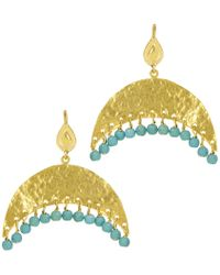 Ottoman Hands - Hammered Crescent And Turquoise Beaded Earrings - Lyst