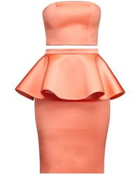 Alice Grace - Pink Coral Strapless Crop Top & Peplum Skirt Two Piece Dress - Lyst