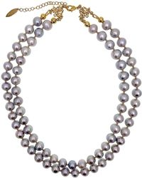 Farra - Grey Freshwater Pearls Double Strands Choker - Lyst