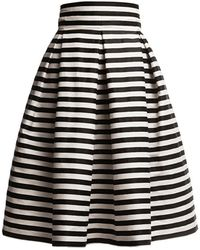 Rumour London - Amalfi Striped Midi Skirt Black & White - Lyst