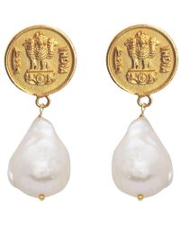 Carousel Jewels - Antique Coin & Pearl Earrings - Lyst