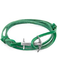 Anchor & Crew - Fern Green Admiral Leather Bracelet - Lyst