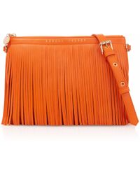 London Velvet - Siena Orange Fringe Clutch - Lyst