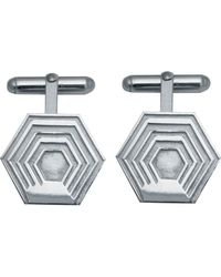 Edge Only - Hexagon Cufflinks In Silver - Lyst