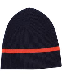 ILLE DE COCOS - Rib Beanie Navy   Coral - Lyst f60559a1c905