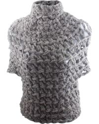 Claire Andrew - Grey Chunky Knit Cap Sleeve Top - Lyst