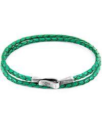 Anchor & Crew - Fern Green Liverpool Silver & Braided Leather Bracelet - Lyst
