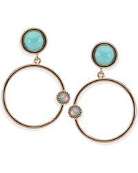 Vintouch Italy - Satellite Rose Gold Amazonite Hoop Earrings - Lyst