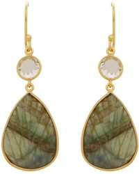 Carousel Jewels - Topaz & Carved Labradorite Leaf Earrings - Lyst