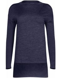 NY CHARISMA - Navy Ribbed Neck Trim High-low Pullover - Lyst