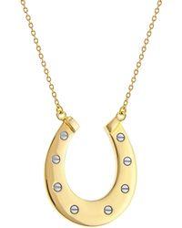 True Rocks - Two Tone Gold And Silver Mini Horseshoe Pendant - Lyst