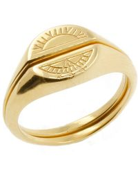 No 13 - Solid Gold Sun & Moon Signet Rings - Lyst