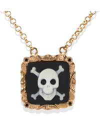 Vintouch Italy - Skull & Crossbones Cameo Necklace - Lyst
