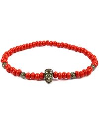 Clariste Jewelry - Men's Skull Bracelet Red & Black - Lyst