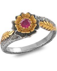 Emma Chapman Jewels - Ruby Gold Floret Ring - Lyst