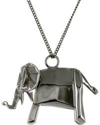 Origami Jewellery - Elephant Necklace Sterling Silver Gun Metal - Lyst