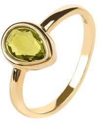 LÁTELITA London - Pisa Mini Teardrop Ring Gold Peridot - Lyst