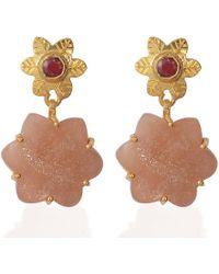 Emma Chapman Jewels - Sylvie Peach Moonstone Ruby Earrings - Lyst