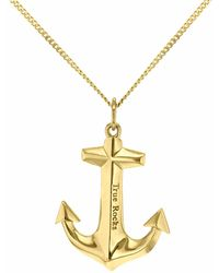 True Rocks - Mini Anchor Necklace Yellow Gold - Lyst