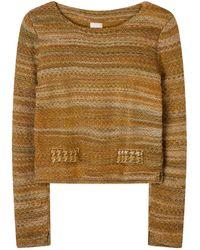 STUDIO MYR Boatneck Wool Sweater In Audrey Hepburn Style Tweed- Moss. - Green