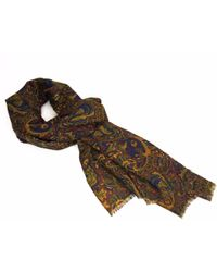 40 Colori - Burgundy Ancient Paisley Wool And Silk Scarf - Lyst