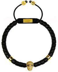 Clariste Jewelry - Men's Ceramic Bead Bracelet Black With Gold Skull - Lyst