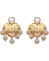 Carousel Jewels - Pearl & Crystal Statement Earrings - Lyst