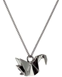 Origami Jewellery - Mini Swan Necklace Gun Metal - Lyst