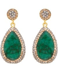 Carousel Jewels - Emerald Corundum Long Drop Earrings - Lyst