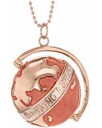 True Rocks - 18kt Rose Gold Plated & Nude Medium Spinning Globe Necklace - Lyst