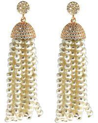 Cosanuova - Sterling Silver Pearl Tassel Earrings - Lyst