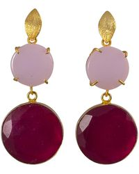 Magpie Rose - Double Pink Onyx Cocktail Earrings - Lyst