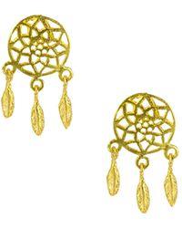 Ottoman Hands - Gold Dreamcatcher Earrings - Lyst