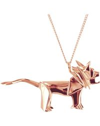Origami Jewellery - Lion Necklace Rose Gold - Lyst