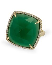 Anne Sisteron 14kt Yellow Gold Green Agate Diamond Triplet Cushion Cut Cocktail Ring