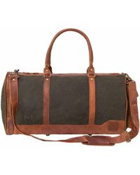 MAHI - Canvas And Leather Columbus Holdall In Forest Green - Lyst